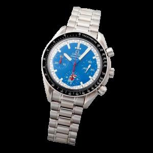 Stainless Steel Omega Speedmaster Blue Cart Logo Watch