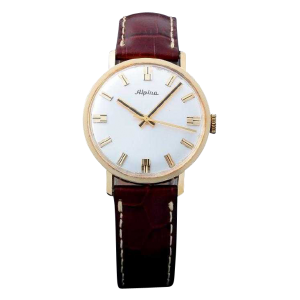Vintage Gents 18k Yellow Gold Alpina Wristwatch.