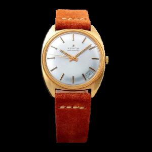 Vintage Gents 18k Yellow Gold Zenith Date Watch.