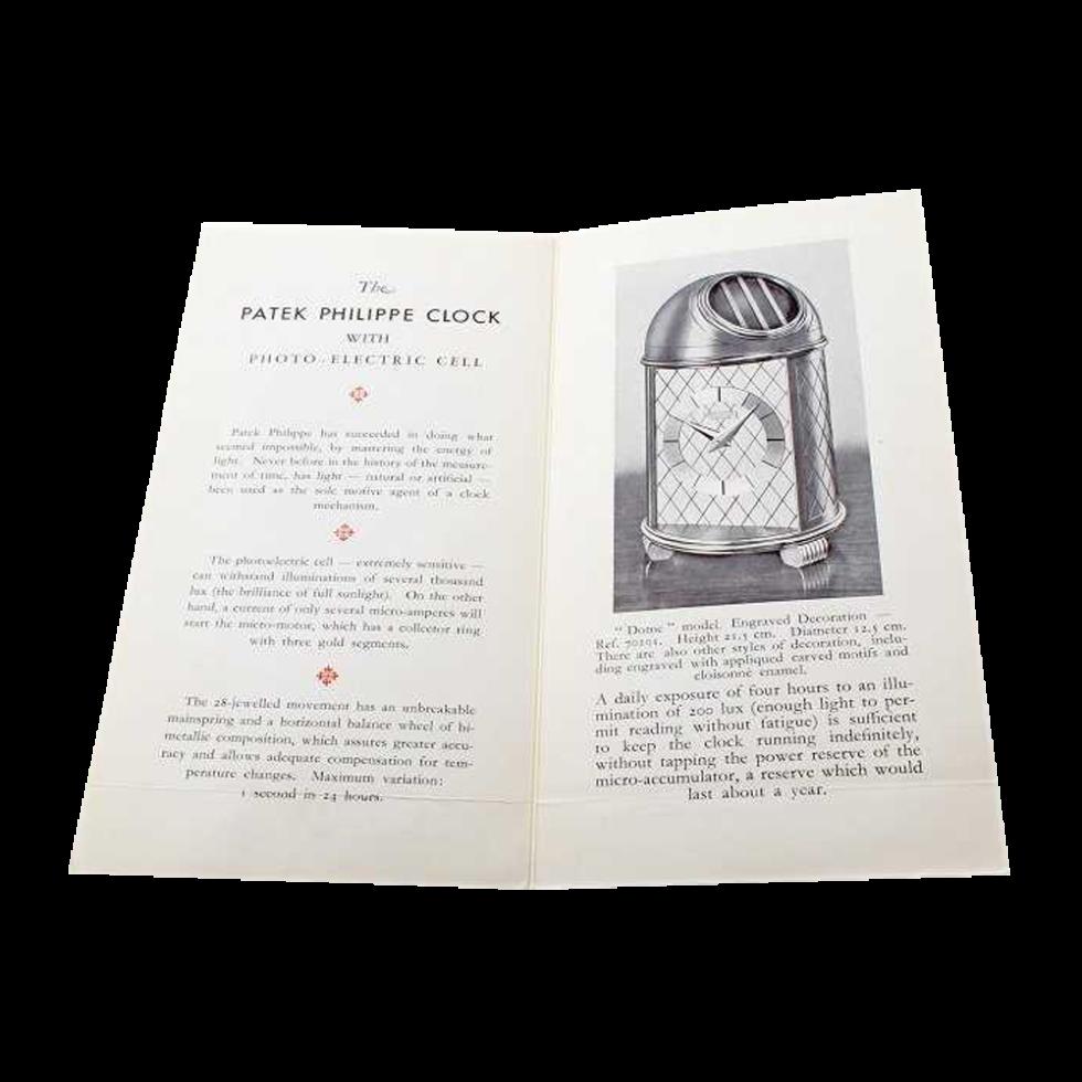 Patek Philippe 70101 Dome Clock Original Sales Brochure