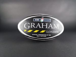 Graham London Timekeeper RBS Rugby Ball - Baer Bosch Auctioneers