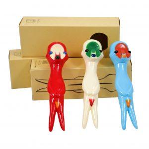Izumi Kato x Linden Toy Soft Vinyl Sculpture Set Red White Blue - Baer & Bosch Auctioneers