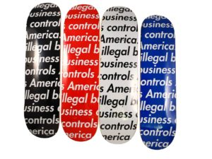 Supreme Illegal Business Controls America Skateboard Deck Set - Baer & Bosch Auctioneers