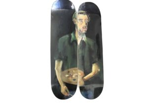Albert Oehlen Selbstportrat Mit Palette Skateboard Skate Deck Diptych Set