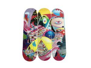 Erik Parker Rome Pays Off Skateboard Skate Deck Triptych Set